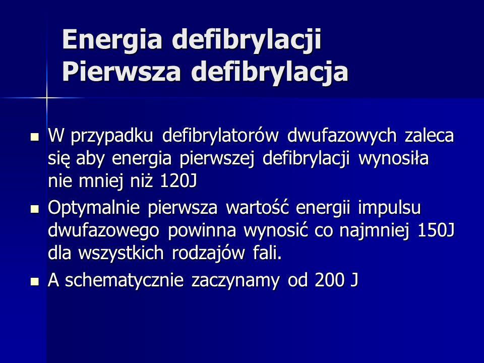 Energia defibrylacji Pierwsza defibrylacja W przypadku defibrylatorów dwufazowych zaleca się aby energia pierwszej defibrylacji wynosiła nie mniej niż 120J W przypadku defibrylatorów dwufazowych zaleca się aby energia pierwszej defibrylacji wynosiła nie mniej niż 120J Optymalnie pierwsza wartość energii impulsu dwufazowego powinna wynosić co najmniej 150J dla wszystkich rodzajów fali.