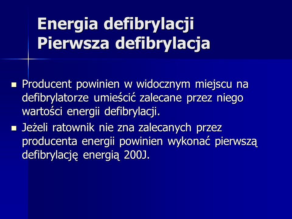 Energia defibrylacji Pierwsza defibrylacja Producent powinien w widocznym miejscu na defibrylatorze umieścić zalecane przez niego wartości energii defibrylacji.