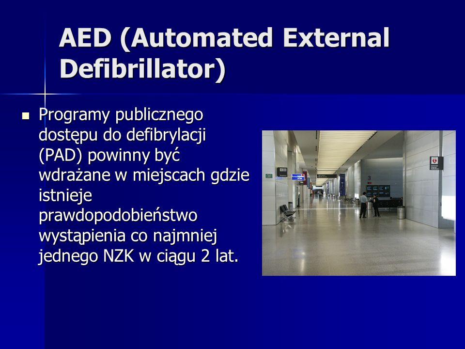 AED (Automated External Defibrillator) Programy publicznego dostępu do defibrylacji (PAD) powinny być wdrażane w miejscach gdzie istnieje prawdopodobieństwo wystąpienia co najmniej jednego NZK w ciągu 2 lat.