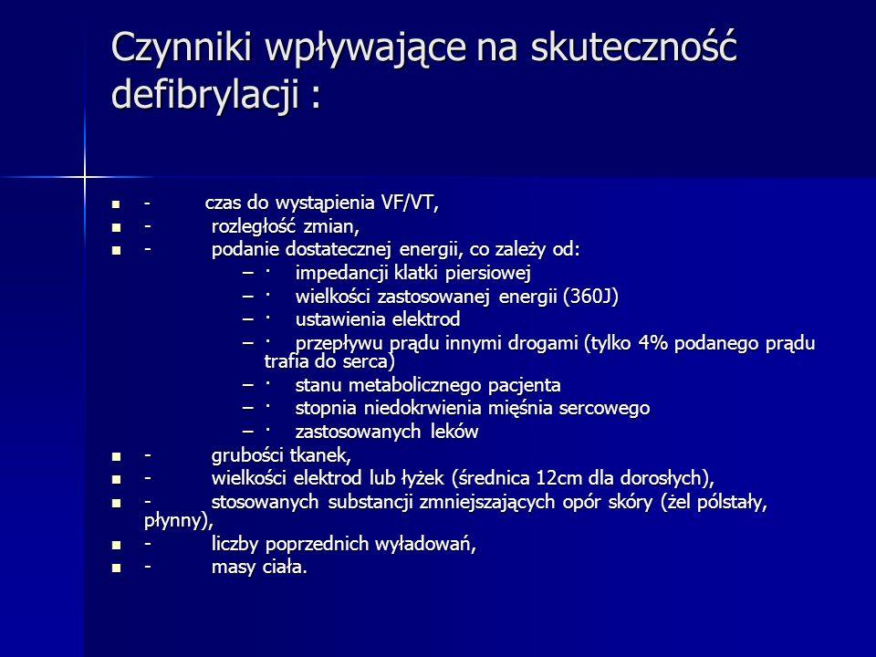 Czynniki wpływające na skuteczność defibrylacji : - czas do wystąpienia VF/VT, - czas do wystąpienia VF/VT, - rozległość zmian, - rozległość zmian, -