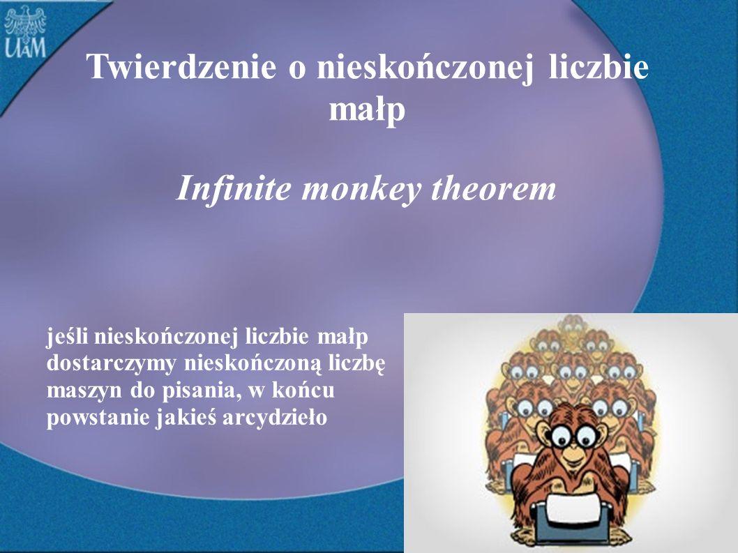 Twierdzenie o nieskończonej liczbie małp Infinite monkey theorem jeśli nieskończonej liczbie małp dostarczymy nieskończoną liczbę maszyn do pisania, w