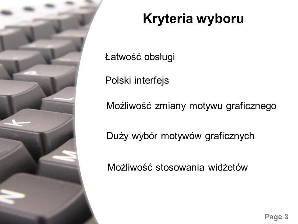 Free Powerpoint Templates Page 3 Kryteria wyboru Łatwość obsługi Polski interfejs Możliwość zmiany motywu graficznego Duży wybór motywów graficznych M