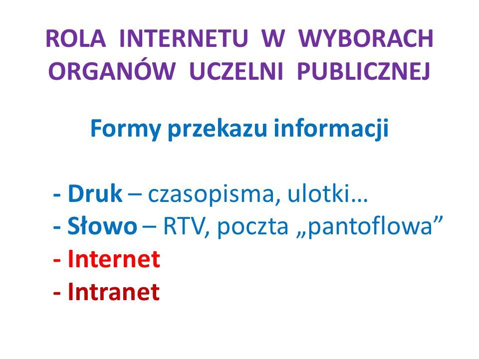 ROLA INTERNETU W WYBORACH ORGANÓW UCZELNI PUBLICZNEJ Formy przekazu informacji - Druk – czasopisma, ulotki… - Słowo – RTV, poczta pantoflowa - Internet - Intranet