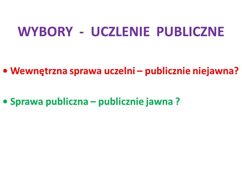WYBORY - UCZLENIE PUBLICZNE Wewnętrzna sprawa uczelni – publicznie niejawna.