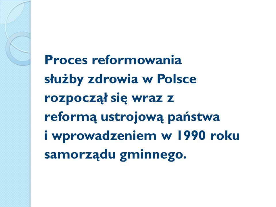 Proces reformowania służby zdrowia w Polsce rozpoczął się wraz z reformą ustrojową państwa i wprowadzeniem w 1990 roku samorządu gminnego.