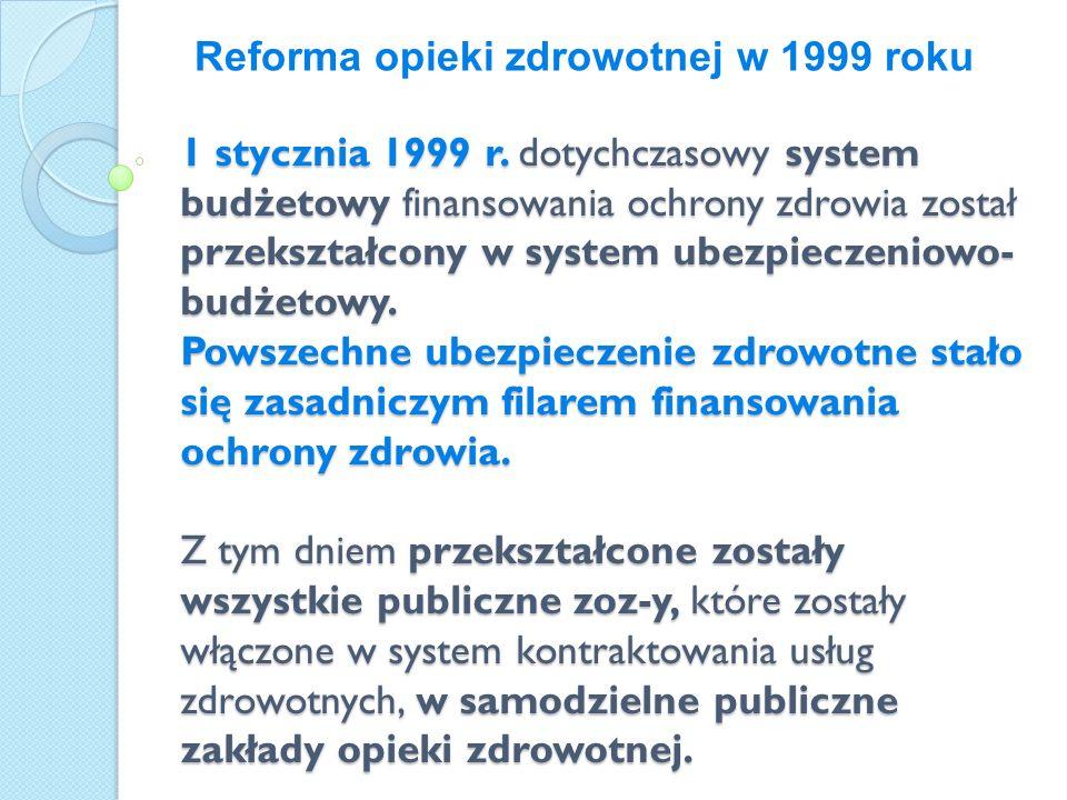 1 stycznia 1999 r. dotychczasowy system budżetowy finansowania ochrony zdrowia został przekształcony w system ubezpieczeniowo- budżetowy. Powszechne u