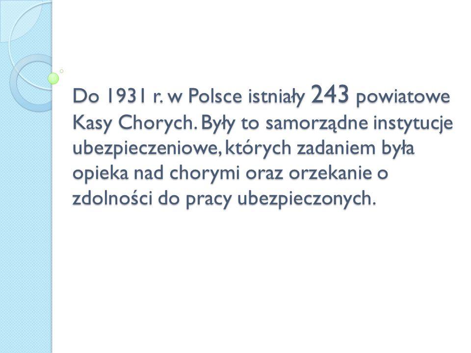 Do 1931 r. w Polsce istniały 243 powiatowe Kasy Chorych. Były to samorządne instytucje ubezpieczeniowe, których zadaniem była opieka nad chorymi oraz