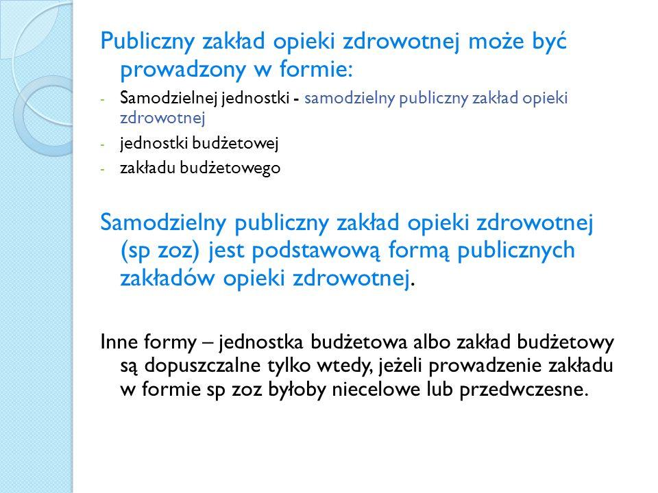 Publiczny zakład opieki zdrowotnej może być prowadzony w formie: - Samodzielnej jednostki - samodzielny publiczny zakład opieki zdrowotnej - jednostki