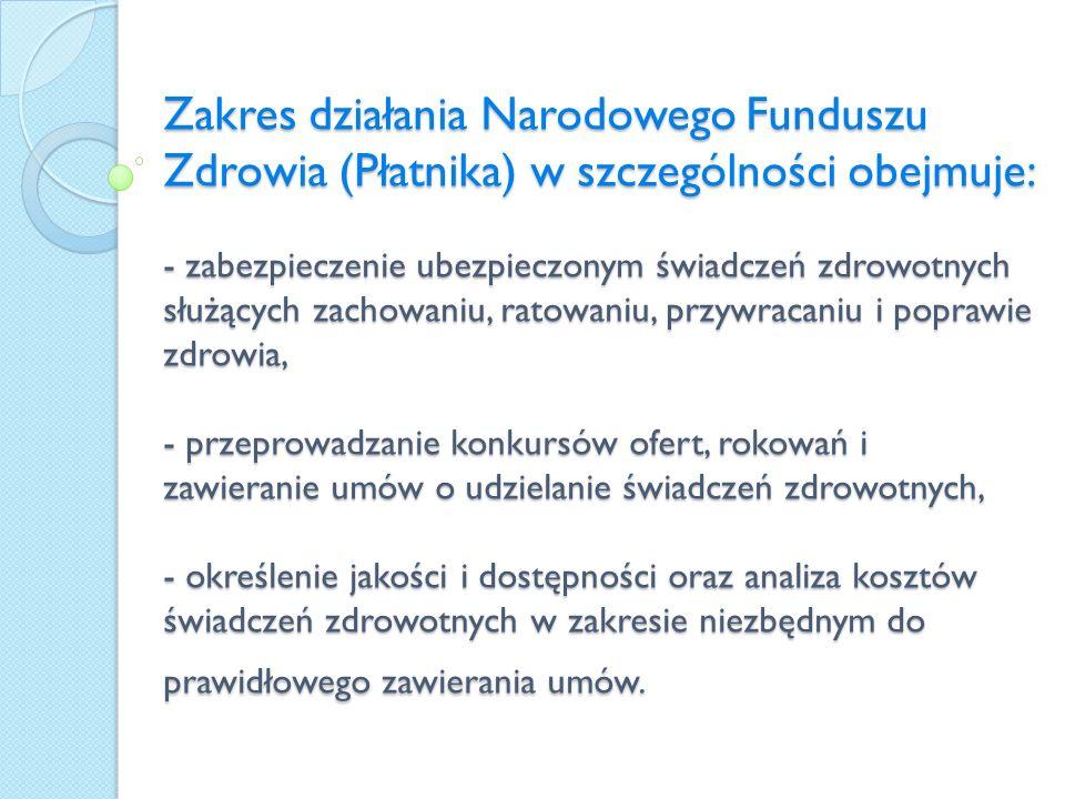 Zakres działania Narodowego Funduszu Zdrowia (Płatnika) w szczególności obejmuje: - zabezpieczenie ubezpieczonym świadczeń zdrowotnych służących zacho