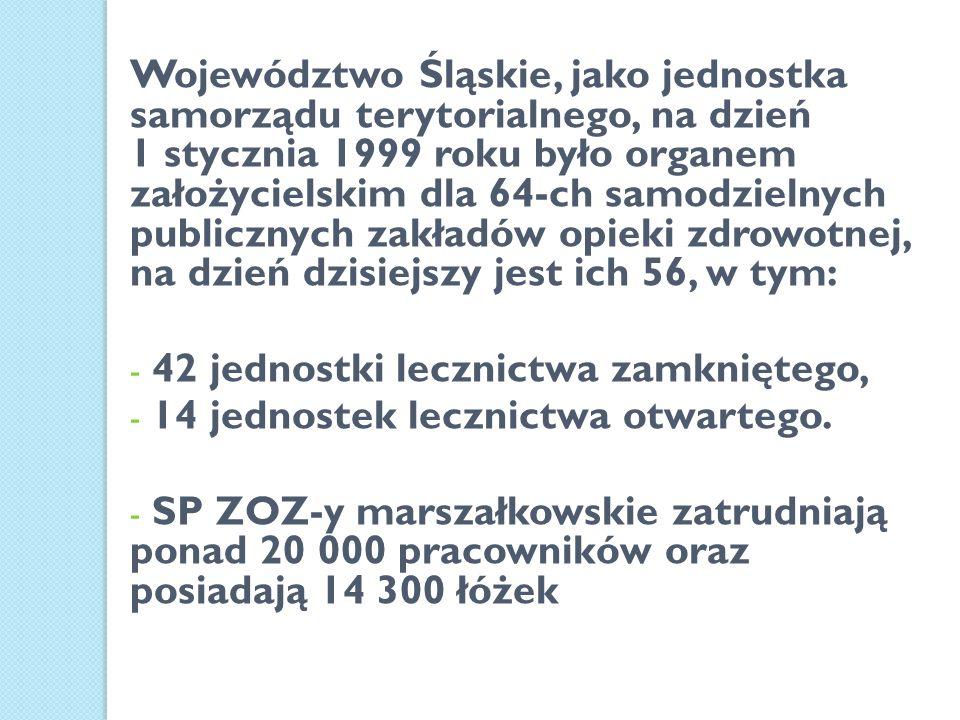 Województwo Śląskie, jako jednostka samorządu terytorialnego, na dzień 1 stycznia 1999 roku było organem założycielskim dla 64-ch samodzielnych public