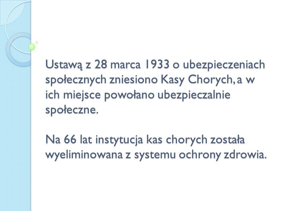 Ustawą z 28 marca 1933 o ubezpieczeniach społecznych zniesiono Kasy Chorych, a w ich miejsce powołano ubezpieczalnie społeczne. Na 66 lat instytucja k