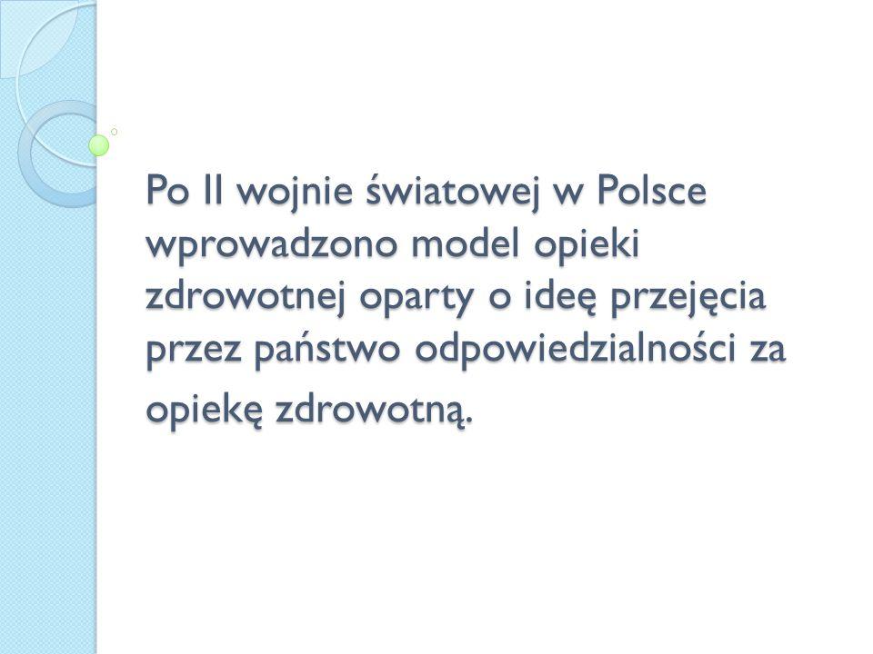 Po II wojnie światowej w Polsce wprowadzono model opieki zdrowotnej oparty o ideę przejęcia przez państwo odpowiedzialności za opiekę zdrowotną.