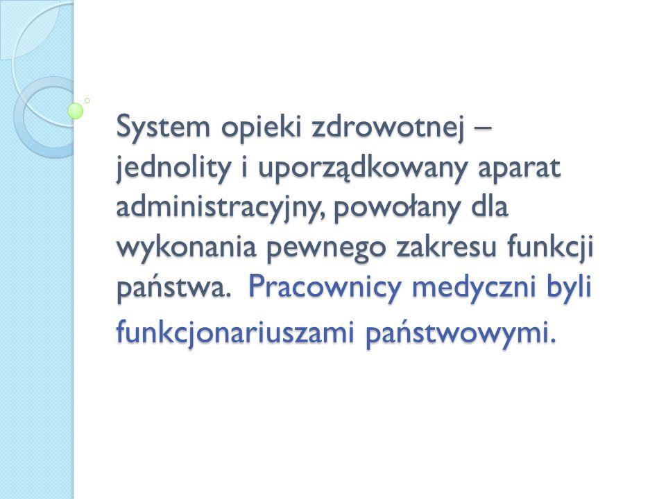System opieki zdrowotnej – jednolity i uporządkowany aparat administracyjny, powołany dla wykonania pewnego zakresu funkcji państwa. Pracownicy medycz