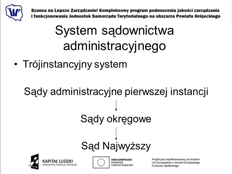 System sądownictwa administracyjnego Trójinstancyjny system Sądy administracyjne pierwszej instancji Sądy okręgowe Sąd Najwyższy