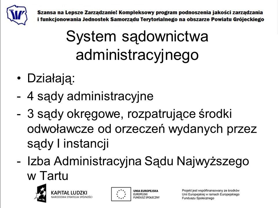 System sądownictwa administracyjnego Działają: -4 sądy administracyjne -3 sądy okręgowe, rozpatrujące środki odwoławcze od orzeczeń wydanych przez sąd