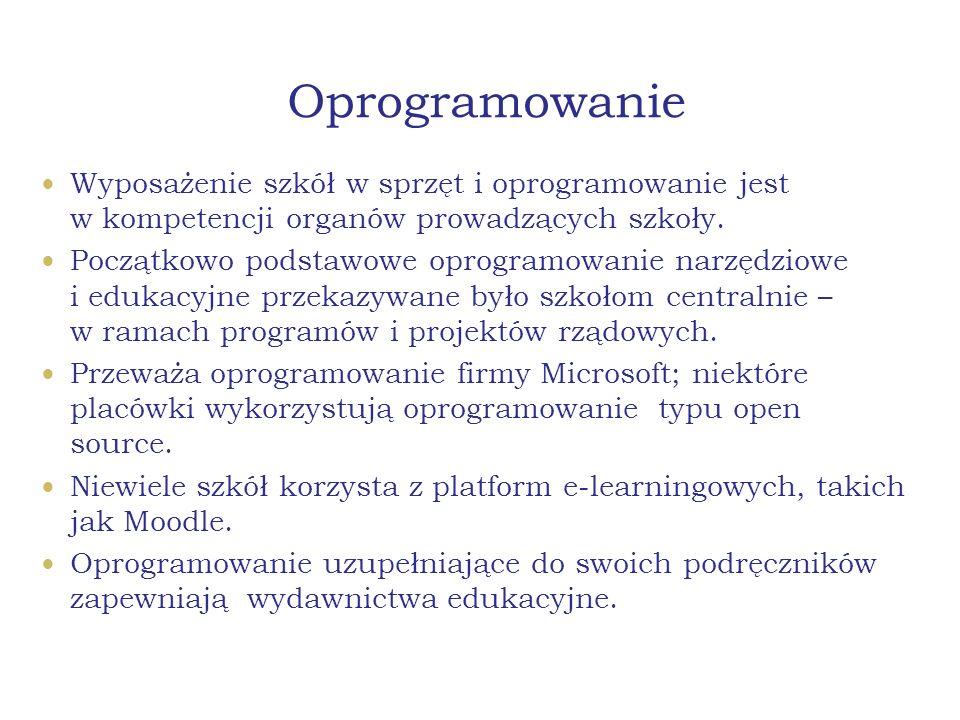 Oprogramowanie Wyposażenie szkół w sprzęt i oprogramowanie jest w kompetencji organów prowadzących szkoły. Początkowo podstawowe oprogramowanie narzęd