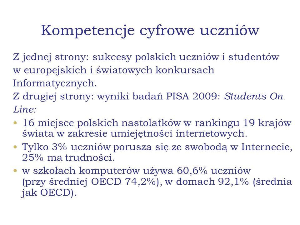 Kompetencje cyfrowe uczniów Z jednej strony: sukcesy polskich uczniów i studentów w europejskich i światowych konkursach Informatycznych. Z drugiej st