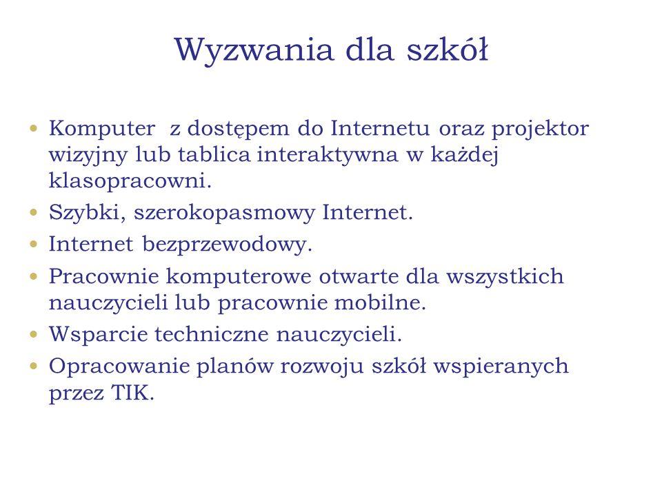 Wyzwania dla szkół Komputer z dostępem do Internetu oraz projektor wizyjny lub tablica interaktywna w każdej klasopracowni. Szybki, szerokopasmowy Int