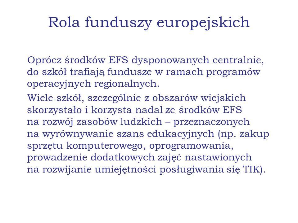 Rola funduszy europejskich Oprócz środków EFS dysponowanych centralnie, do szkół trafiają fundusze w ramach programów operacyjnych regionalnych. Wiele