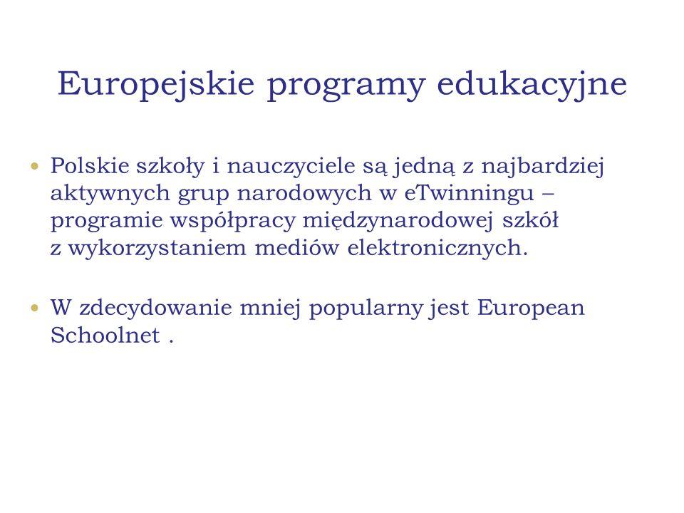 Europejskie programy edukacyjne Polskie szkoły i nauczyciele są jedną z najbardziej aktywnych grup narodowych w eTwinningu – programie współpracy międ