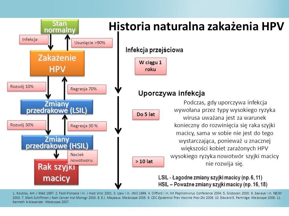 Historia naturalna zakażenia HPV Podczas, gdy uporczywa infekcja wywołana przez typy wysokiego ryzyka wirusa uważana jest za warunek konieczny do rozw