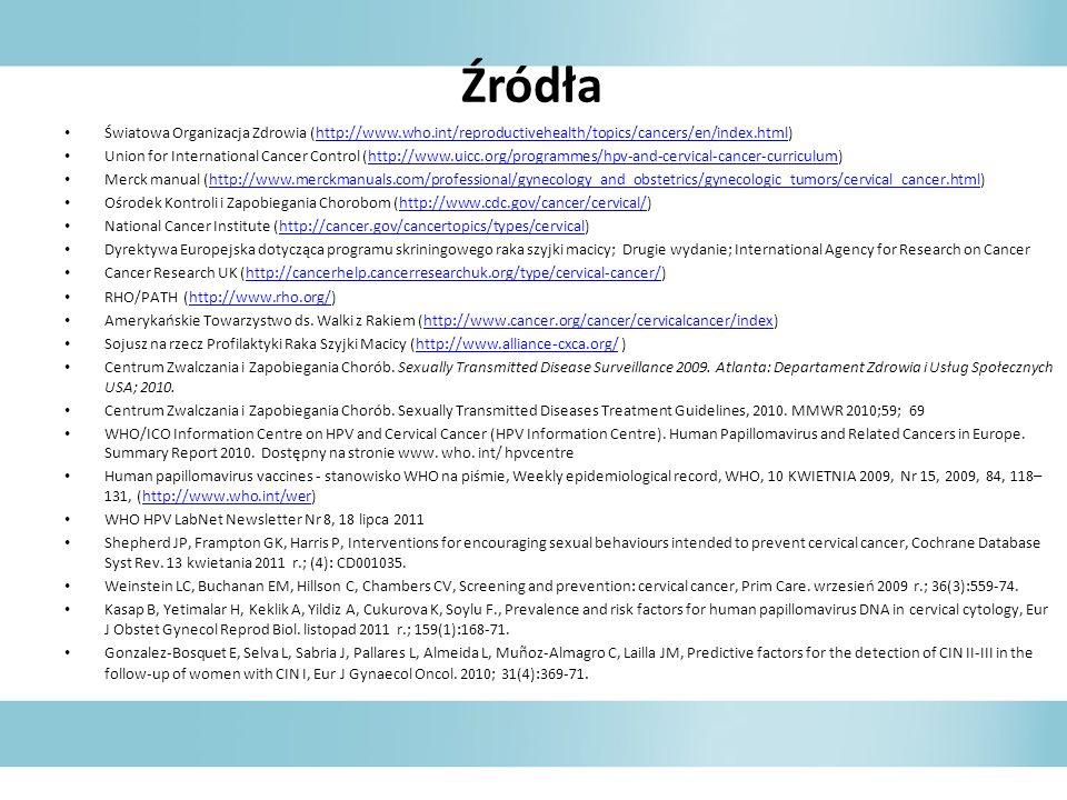 Źródła Światowa Organizacja Zdrowia (http://www.who.int/reproductivehealth/topics/cancers/en/index.html)http://www.who.int/reproductivehealth/topics/c