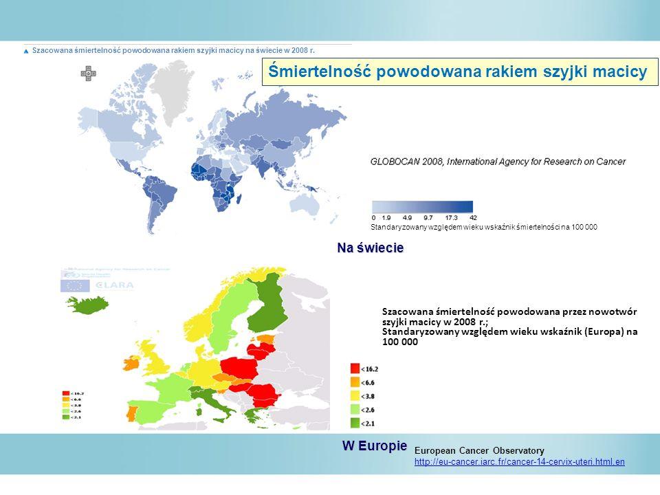Szacowana śmiertelność powodowana przez nowotwór szyjki macicy w 2008 r.; Standaryzowany względem wieku wskaźnik (Europa) na 100 000 European Cancer O