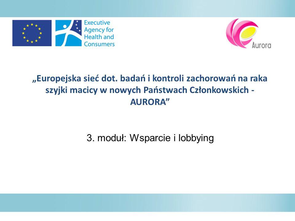 Europejska sieć dot. badań i kontroli zachorowań na raka szyjki macicy w nowych Państwach Członkowskich - AURORA 3. moduł: Wsparcie i lobbying
