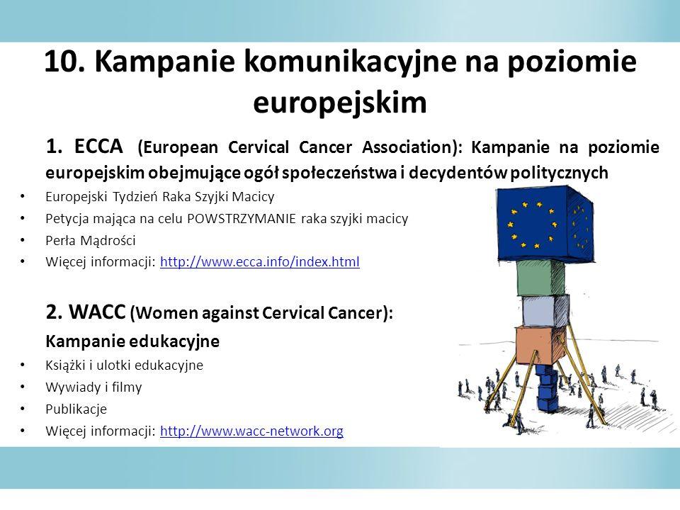 10. Kampanie komunikacyjne na poziomie europejskim 1. ECCA (European Cervical Cancer Association): Kampanie na poziomie europejskim obejmujące ogół sp