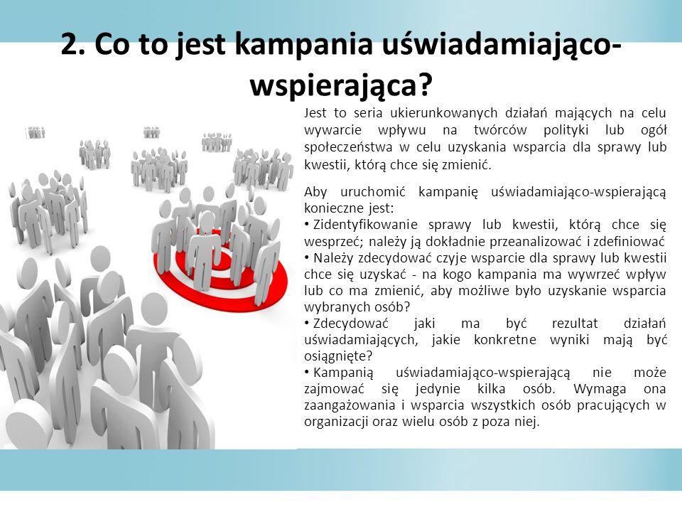 2. Co to jest kampania uświadamiająco- wspierająca? Jest to seria ukierunkowanych działań mających na celu wywarcie wpływu na twórców polityki lub ogó