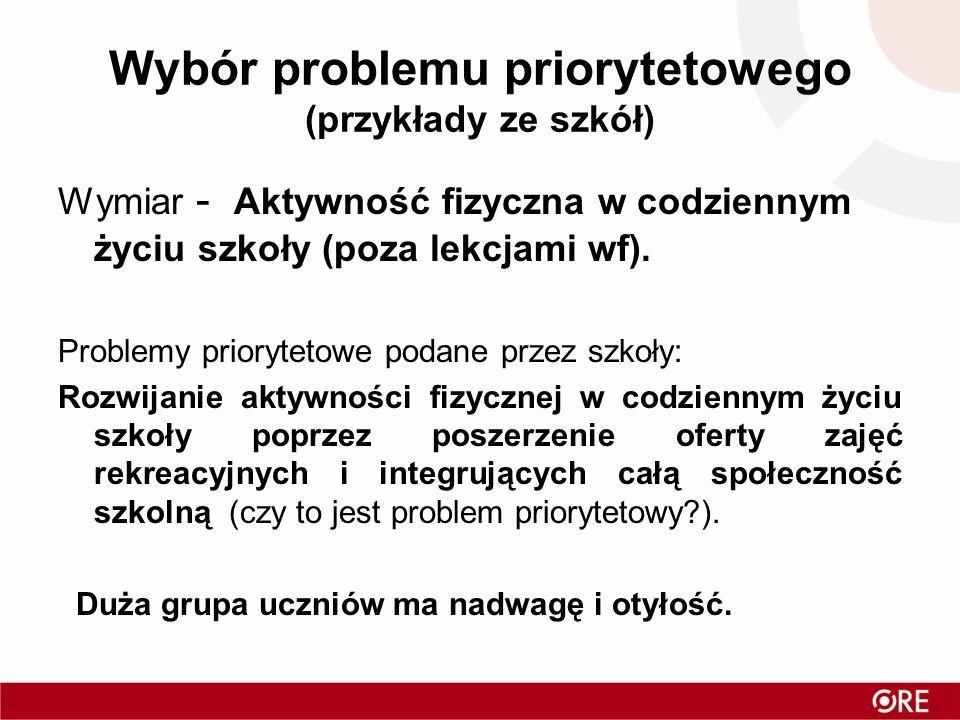 Wybór problemu priorytetowego (przykłady ze szkół) Wymiar - Aktywność fizyczna w codziennym życiu szkoły (poza lekcjami wf). Problemy priorytetowe pod
