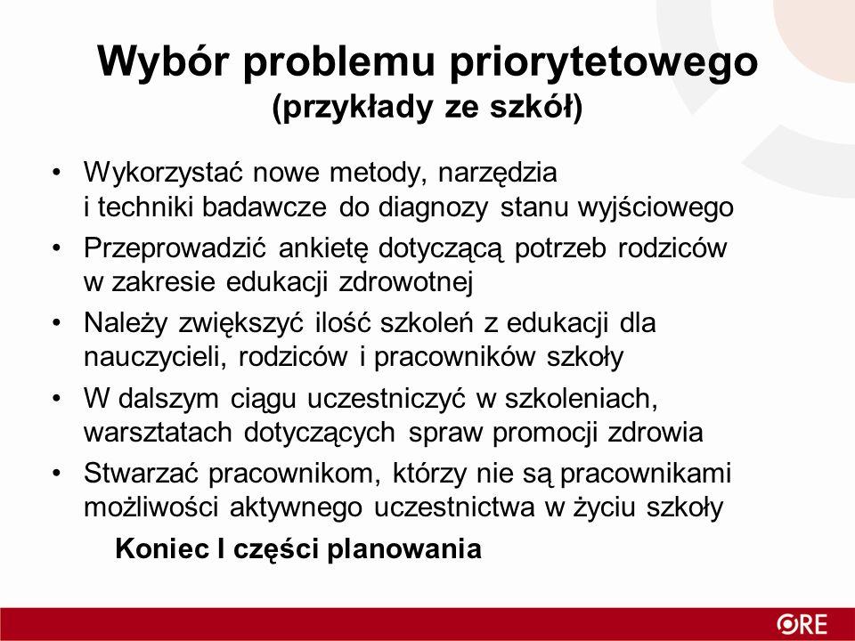 Wybór problemu priorytetowego (przykłady ze szkół) Wykorzystać nowe metody, narzędzia i techniki badawcze do diagnozy stanu wyjściowego Przeprowadzić