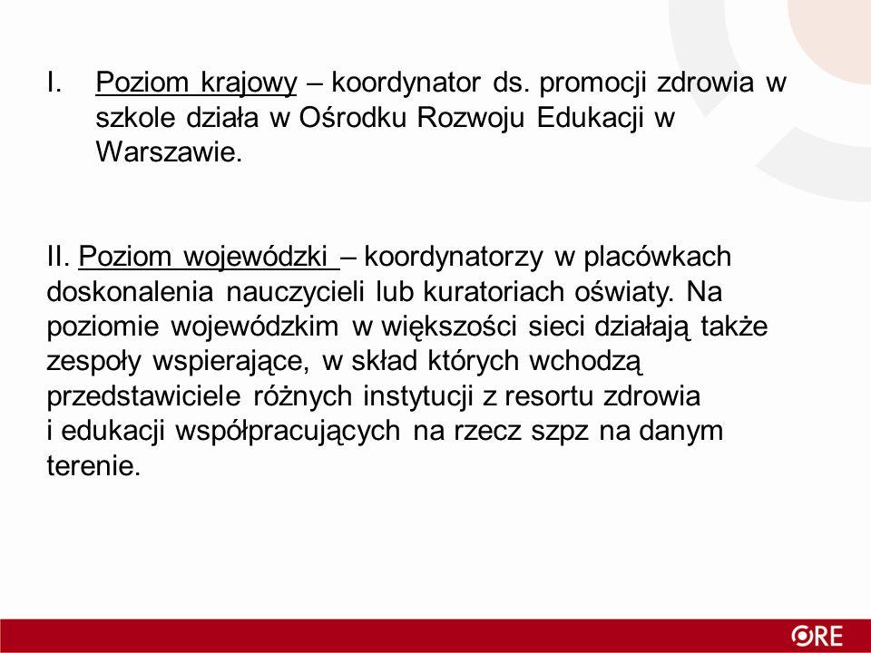 I.Poziom krajowy – koordynator ds. promocji zdrowia w szkole działa w Ośrodku Rozwoju Edukacji w Warszawie. II. Poziom wojewódzki – koordynatorzy w pl