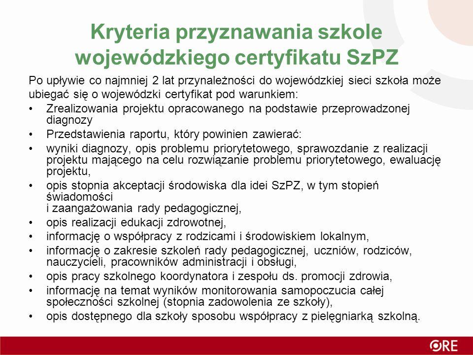 Kryteria przyznawania szkole wojewódzkiego certyfikatu SzPZ Po upływie co najmniej 2 lat przynależności do wojewódzkiej sieci szkoła może ubiegać się