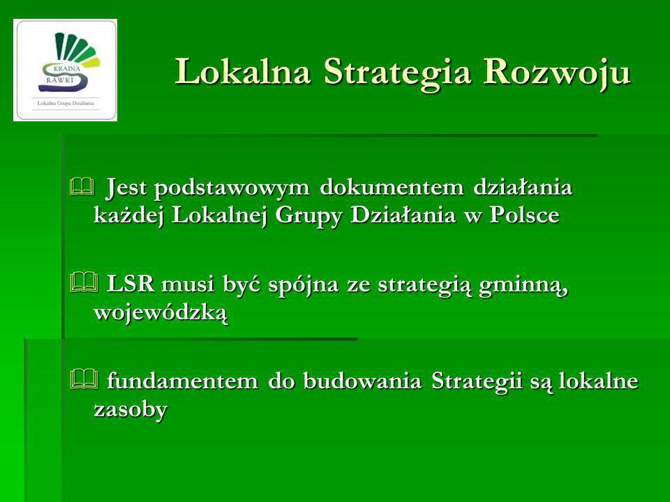 Lokalna Strategia Rozwoju Jest podstawowym dokumentem działania każdej Lokalnej Grupy Działania w Polsce Jest podstawowym dokumentem działania każdej