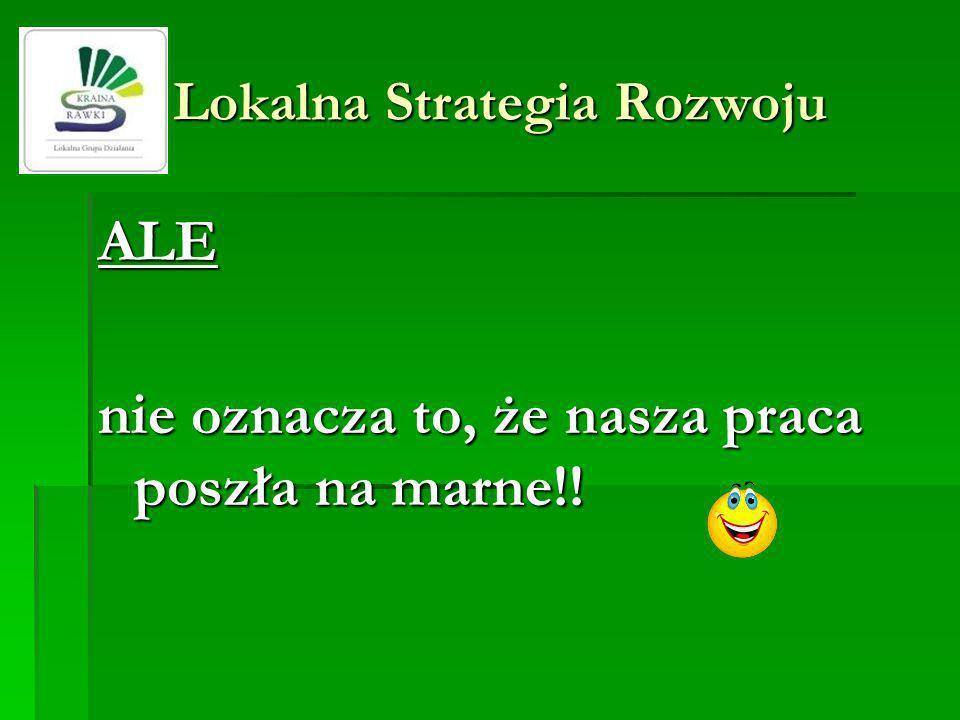 Lokalna Strategia Rozwoju Lokalna Strategia Rozwoju ALE nie oznacza to, że nasza praca poszła na marne!!