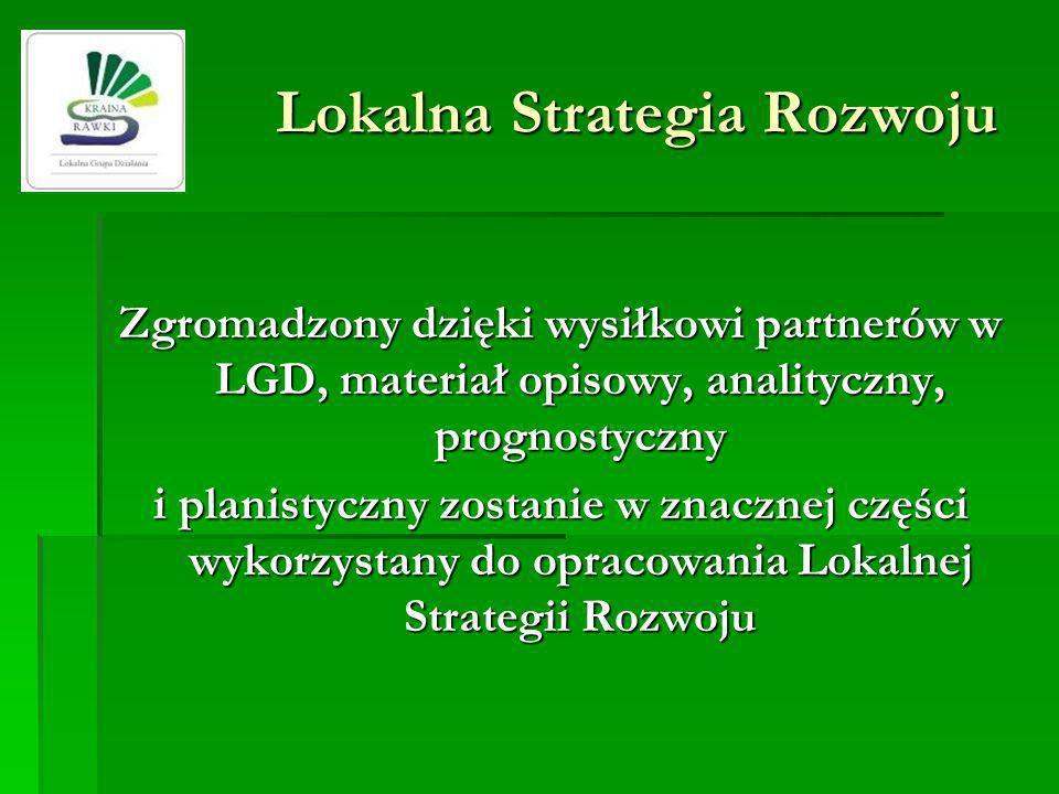 Lokalna Strategia Rozwoju Zgromadzony dzięki wysiłkowi partnerów w LGD, materiał opisowy, analityczny, prognostyczny i planistyczny zostanie w znaczne
