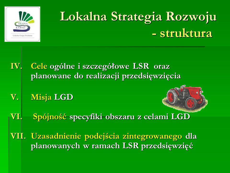 Lokalna Strategia Rozwoju - struktura IV.Cele ogólne i szczegółowe LSR oraz planowane do realizacji przedsięwzięcia V.Misja LGD VI. Spójność specyfiki