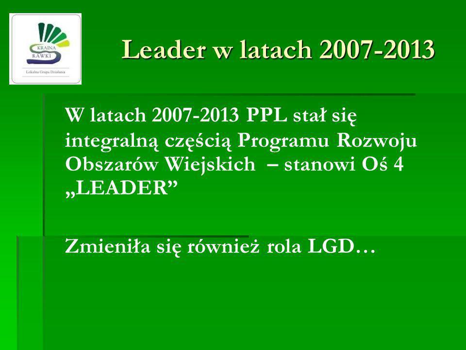 W latach 2007-2013 PPL stał się integralną częścią Programu Rozwoju Obszarów Wiejskich – stanowi Oś 4 LEADER Zmieniła się również rola LGD… Leader w l