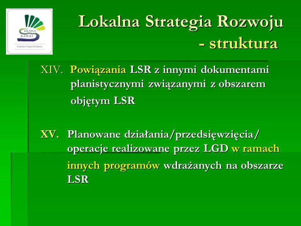 Lokalna Strategia Rozwoju - struktura XIV. Powiązania LSR z innymi dokumentami planistycznymi związanymi z obszarem objętym LSR XV.Planowane działania