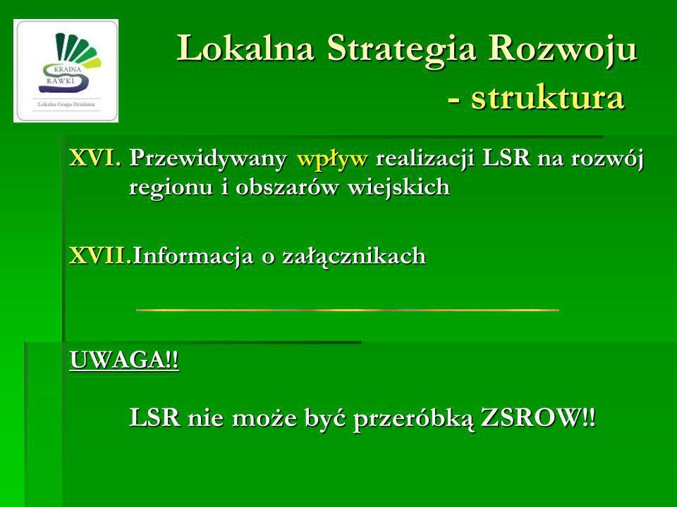 Lokalna Strategia Rozwoju - struktura XVI.Przewidywany wpływ realizacji LSR na rozwój regionu i obszarów wiejskich XVII.Informacja o załącznikach UWAG