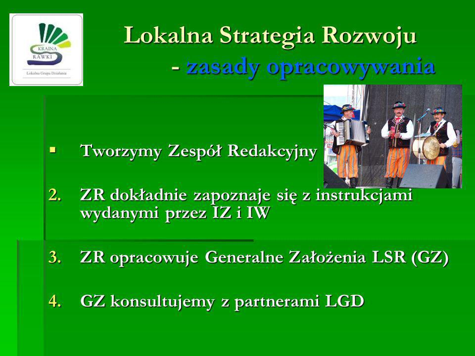 Lokalna Strategia Rozwoju - zasady opracowywania Tworzymy Zespół Redakcyjny (ZR) Tworzymy Zespół Redakcyjny (ZR) 2.ZR dokładnie zapoznaje się z instru