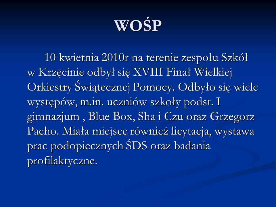 WOŚP 10 kwietnia 2010r na terenie zespołu Szkół w Krzęcinie odbył się XVIII Finał Wielkiej Orkiestry Świątecznej Pomocy. Odbyło się wiele występów, m.