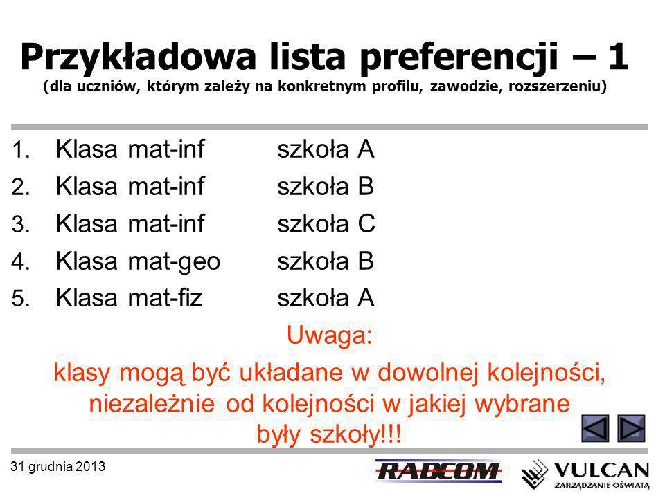 31 grudnia 2013 Przykładowa lista preferencji – 1 (dla uczniów, którym zależy na konkretnym profilu, zawodzie, rozszerzeniu) 1. Klasa mat-inf szkoła A