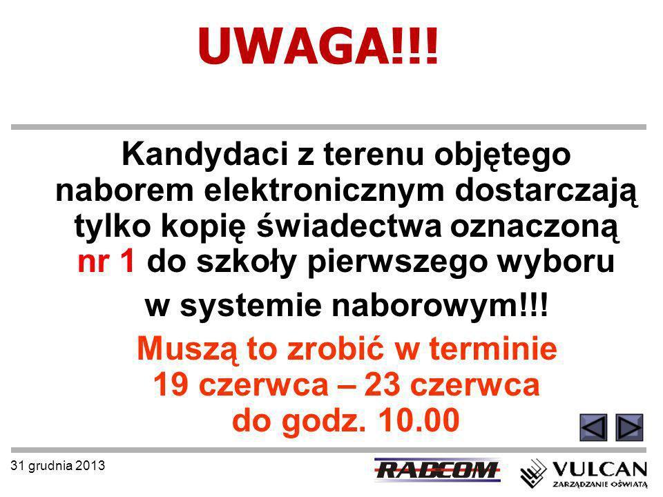 31 grudnia 2013 UWAGA!!! Kandydaci z terenu objętego naborem elektronicznym dostarczają tylko kopię świadectwa oznaczoną nr 1 do szkoły pierwszego wyb