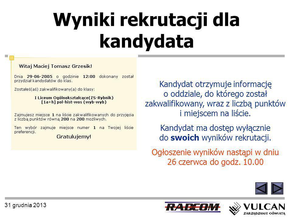 31 grudnia 2013 Wyniki rekrutacji dla kandydata Kandydat otrzymuje informację o oddziale, do którego został zakwalifikowany, wraz z liczbą punktów i m