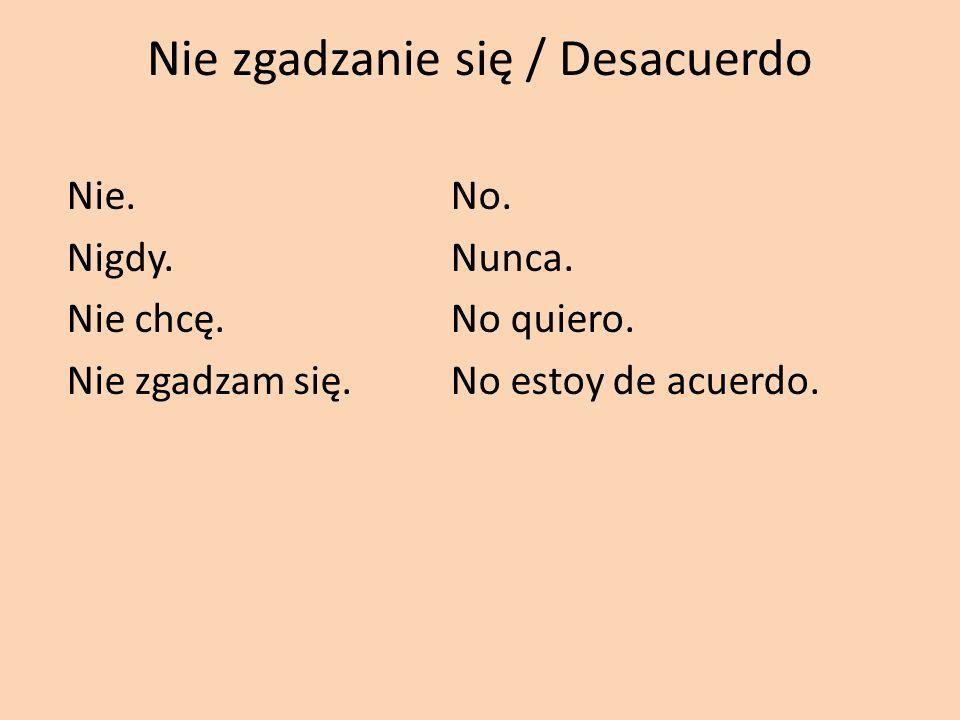 Nie zgadzanie się / Desacuerdo Nie.No. Nigdy.Nunca. Nie chcę.No quiero. Nie zgadzam się.No estoy de acuerdo.