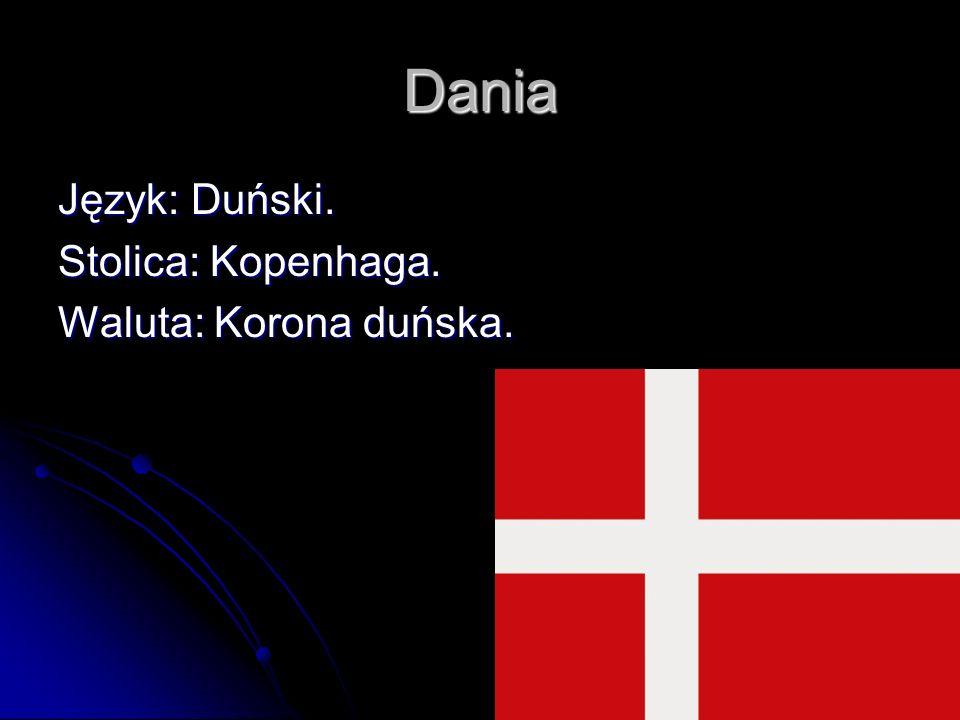 Dania Język: Duński. Stolica: Kopenhaga. Waluta: Korona duńska.