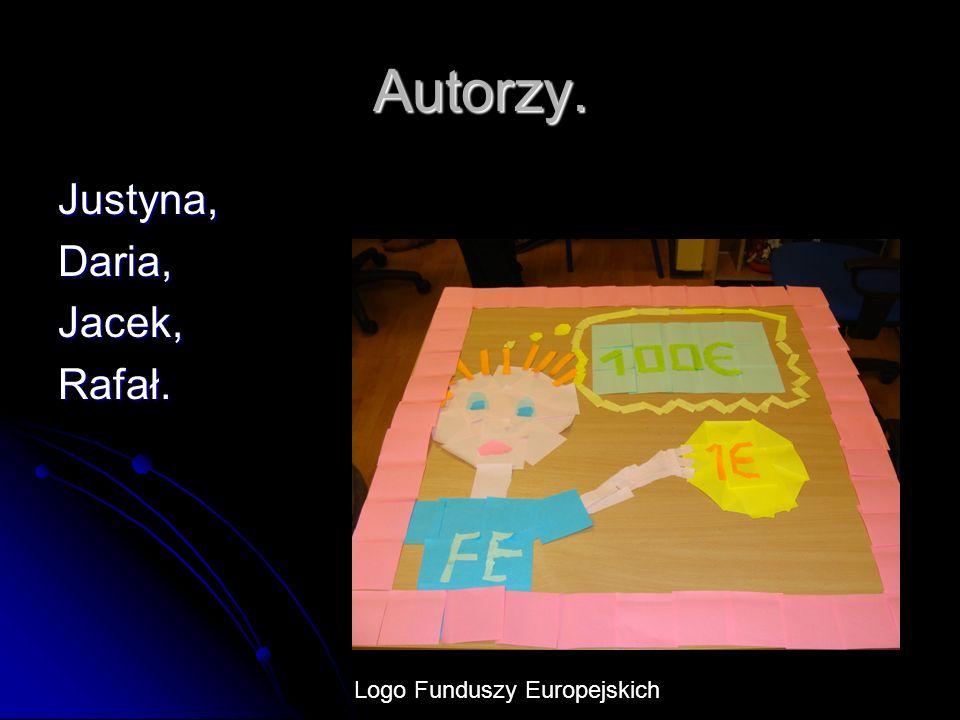 Autorzy. Justyna,Daria,Jacek,Rafał. Logo Funduszy Europejskich