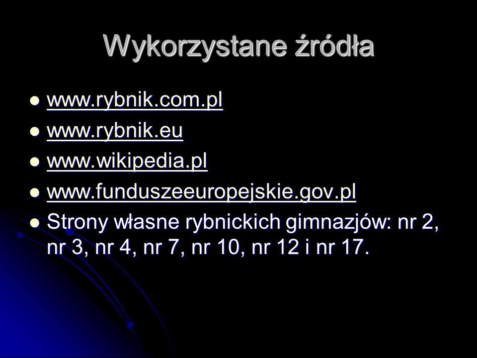 Wykorzystane źródła www.rybnik.com.pl www.rybnik.com.pl www.rybnik.com.pl www.rybnik.eu www.rybnik.eu www.rybnik.eu www.wikipedia.pl www.wikipedia.pl